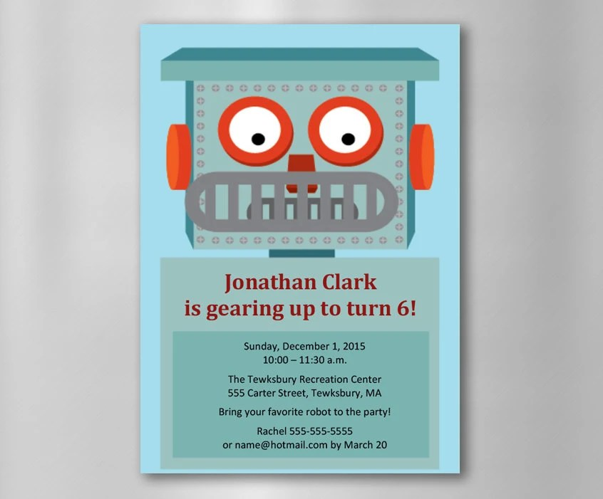 INSTANT DOWNLOAD Robot Birthday Invitation\u2014Printable, Customizable