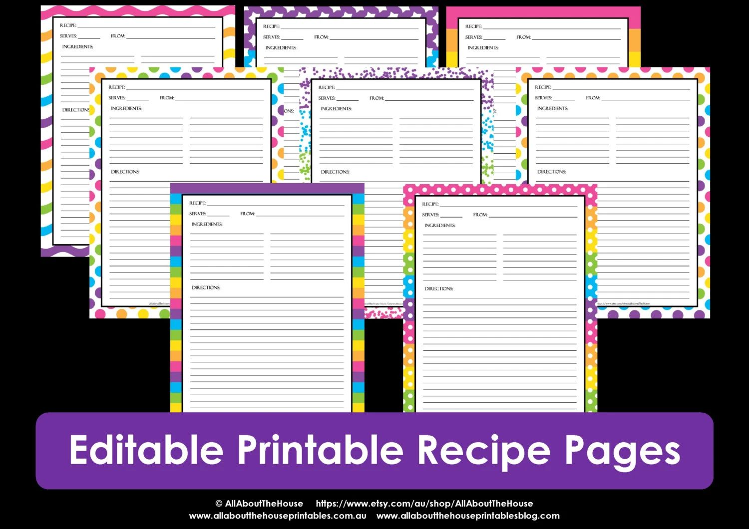 printable recipe templates