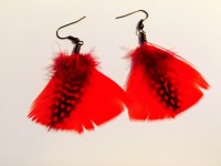 Fire Red Feather Earrings