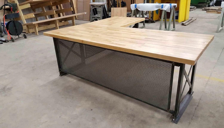 Large Executive Desk Modern Industrial L Shape Office Desk