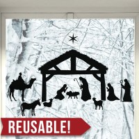 REUSABLE Window Cling Christmas Decorations Christmas