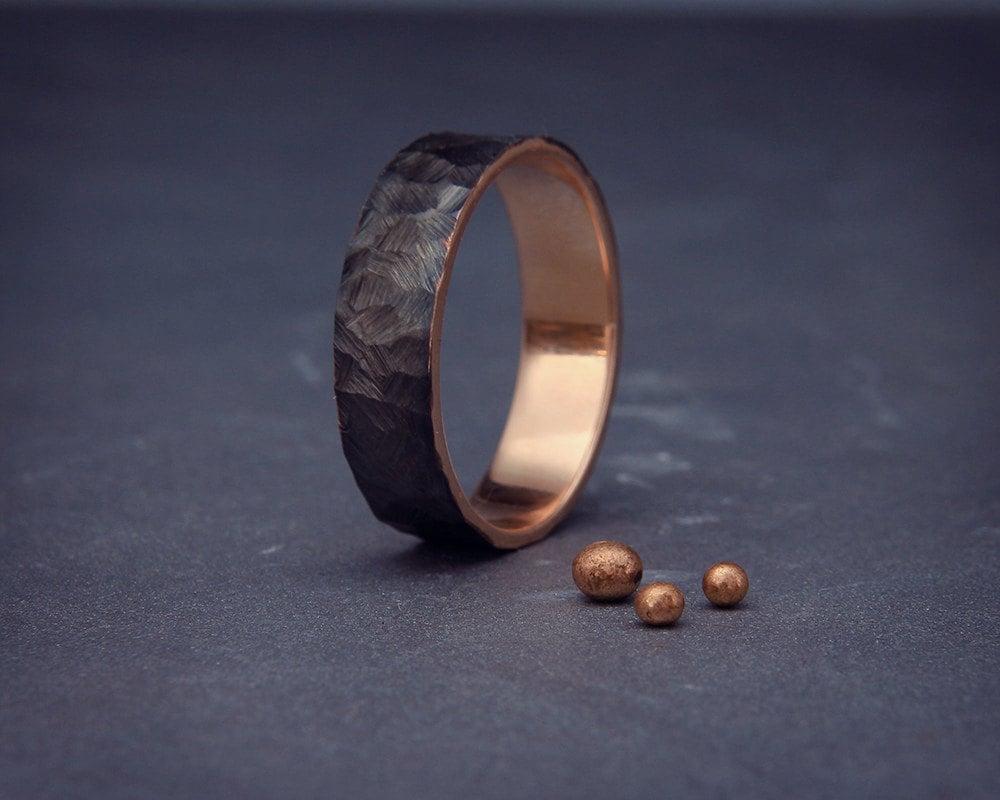 mens wedding band men wedding ring Black 14k Rose Gold Men s wedding ring Handmade 14k solid rose gold rough faceted men wedding band 3mm 4mm 5mm 6mm 7mm