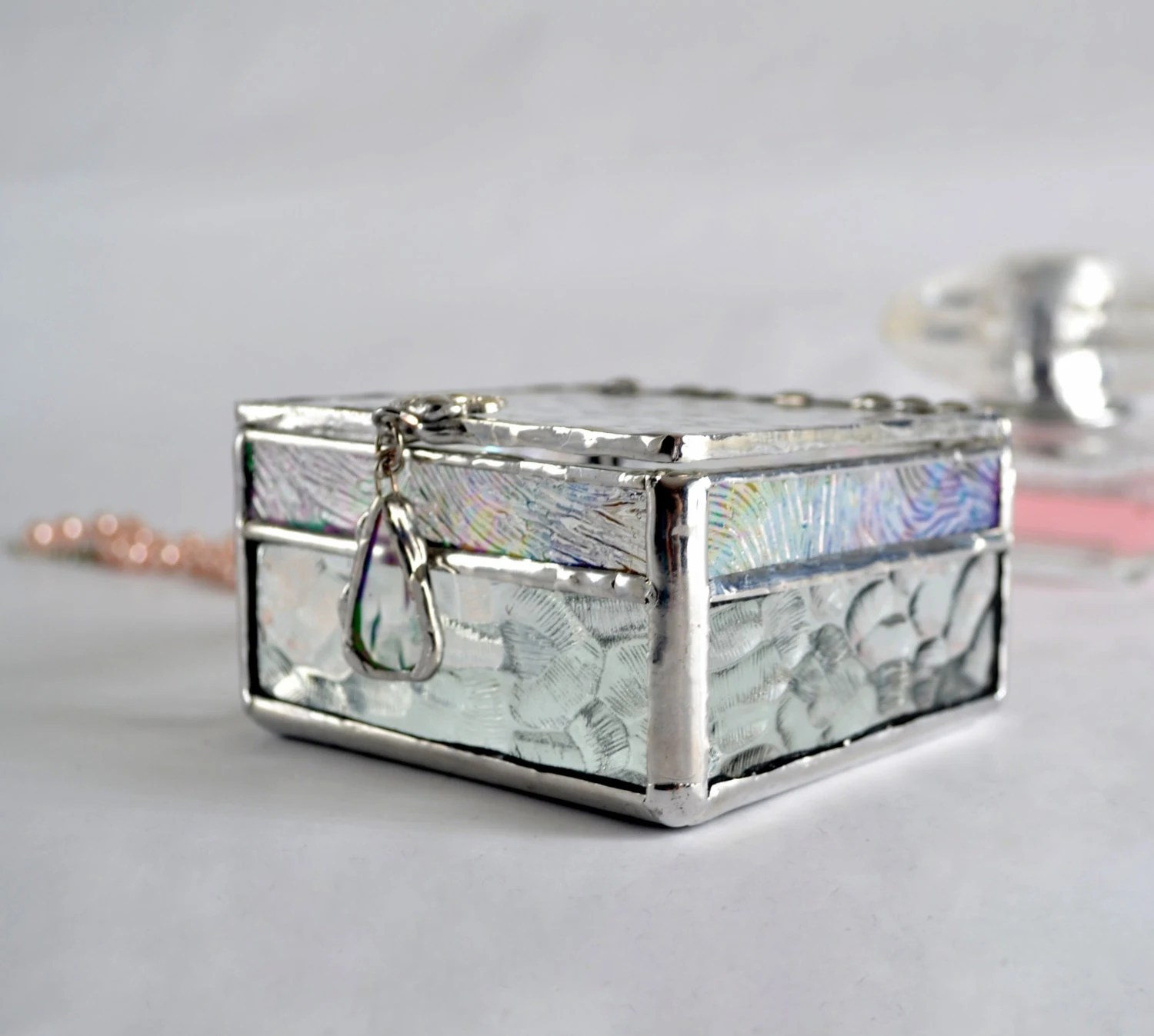 Clear Display Boxes Clear Textured Glass Box Glass Display Box Jewelry Box