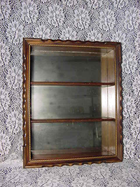 Wood Mirror Wall Shelf Shadow Box Whatnot Hanging Case