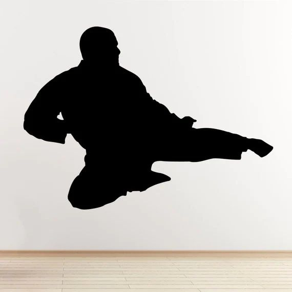 Flying kick wall sticker taekwondo karate mixed martial