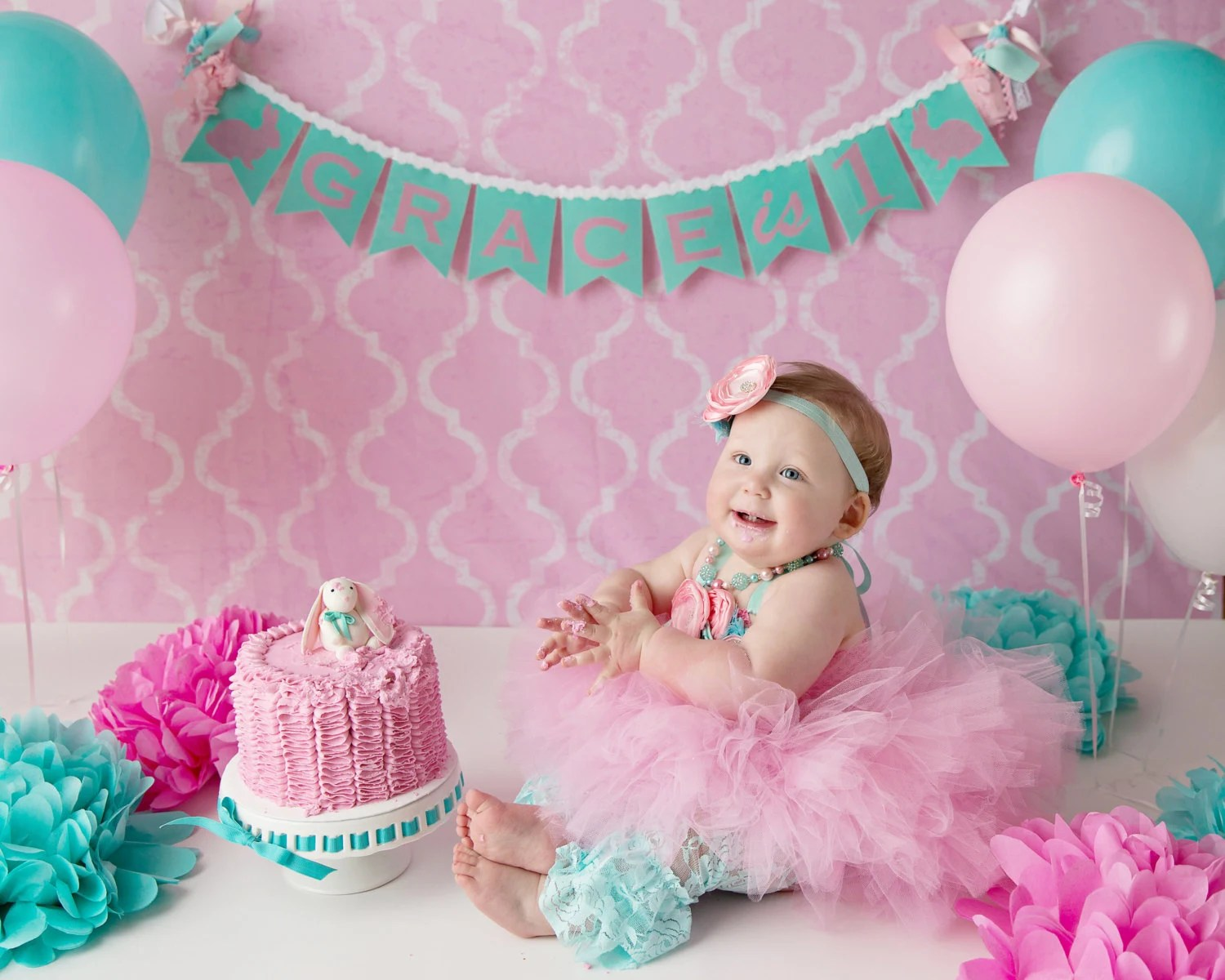 FIRST BIRTHDAY BANNER / 1st Birthday Girl / 1st Birthday Banner - first birthday banner