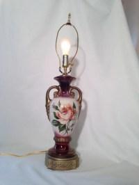 Vintage Ceramic Table Lamp Vase Urn Floral by PhilomenasCloset