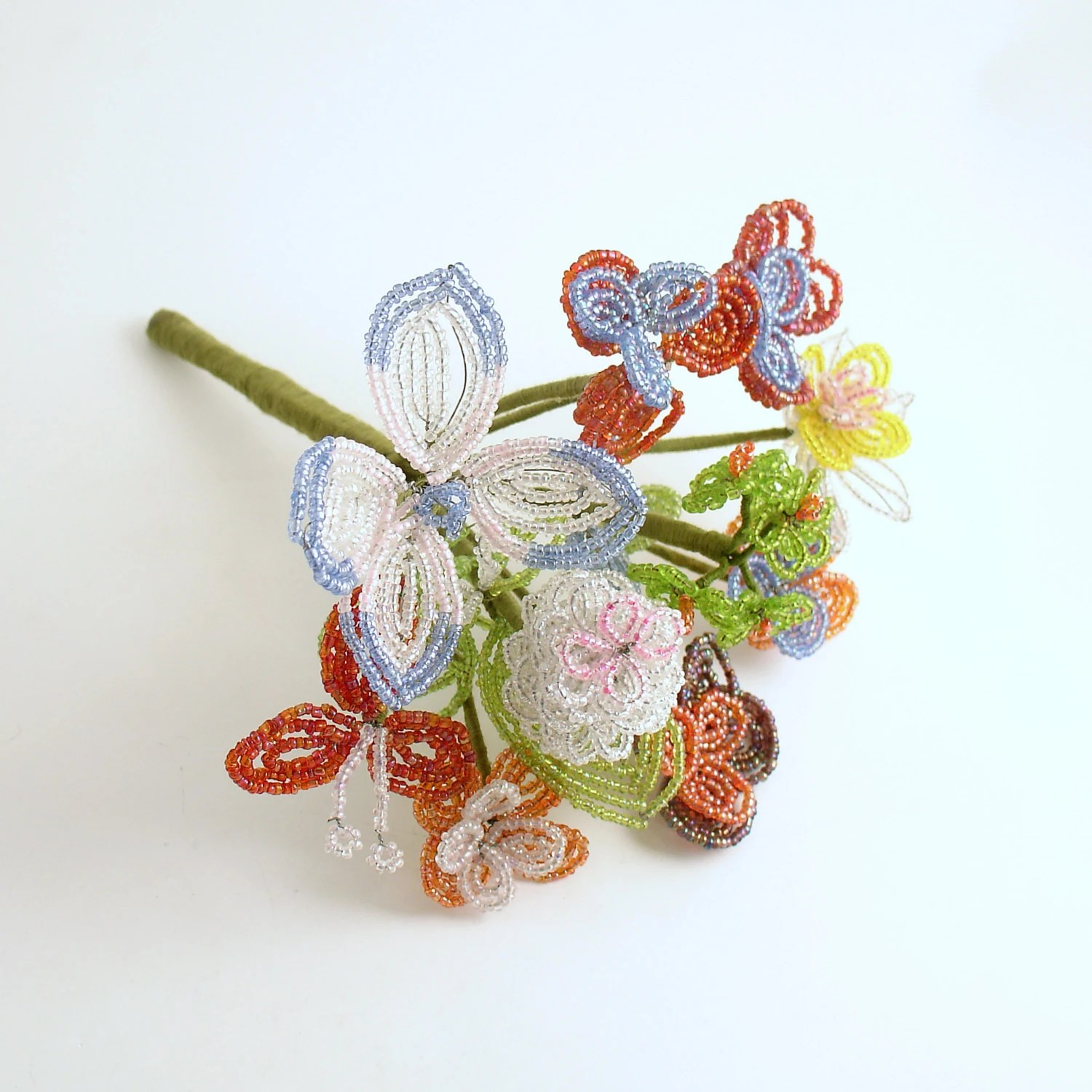 Vintage French Beaded Flower Bouquet Wedding Bouquet