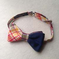 Men's Bow Ties / Custom Made Bow Ties / Navy Blue Silk And