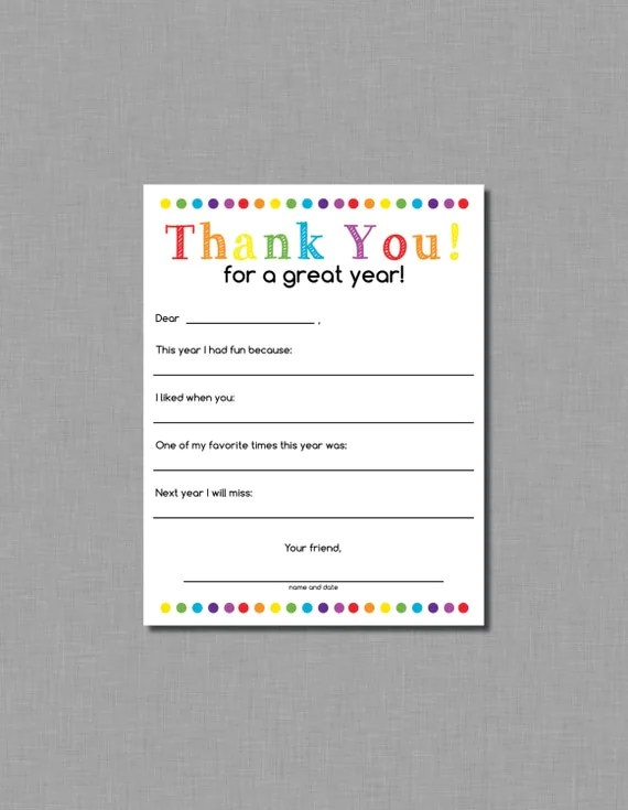 Teacher Thank You letter end of school year gift Instant - ending thank you letters