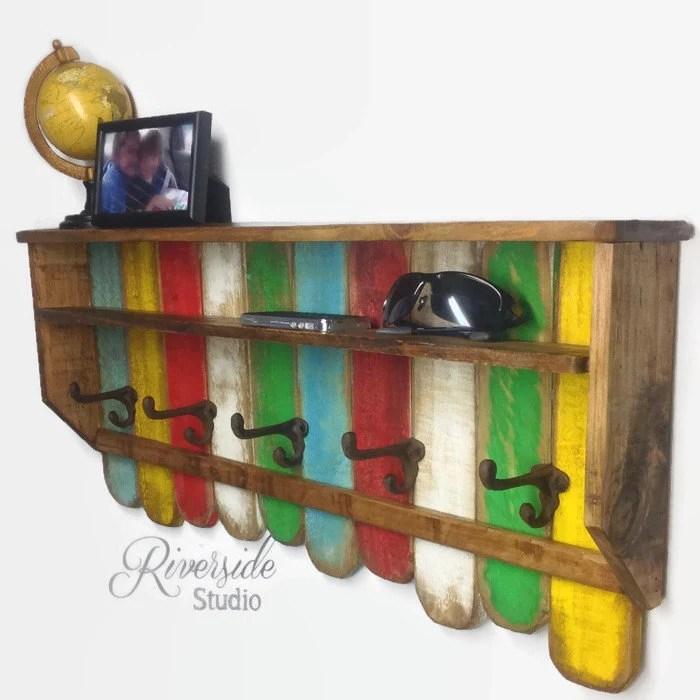 Entryway Wood Shelf Coat Rack Reclaimed By Riversidestudioon
