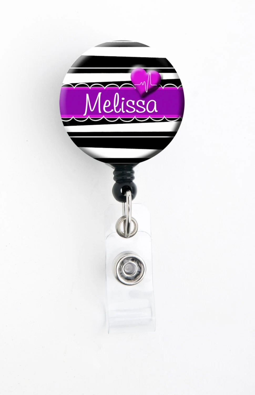 Retractable Id Badge Holder Personalized Name Zebra