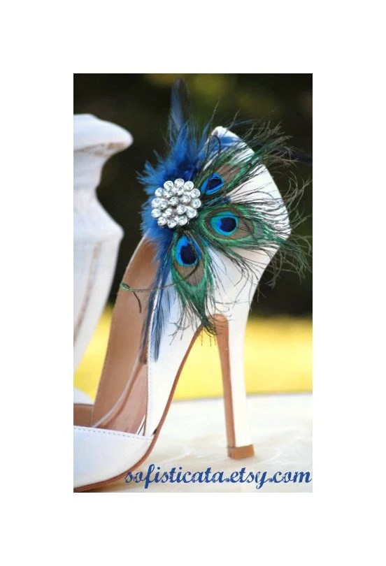 Shoe Clips Peacock \ Navy Fan Bride Bridal Bridesmaid - consent order form