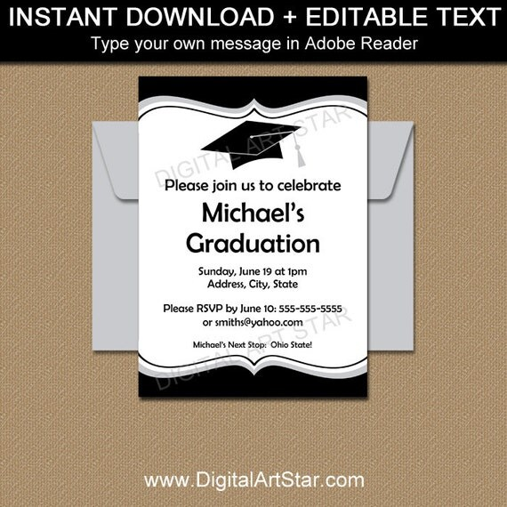 Black and White Graduation Invitation Printable College - graduation invitation template