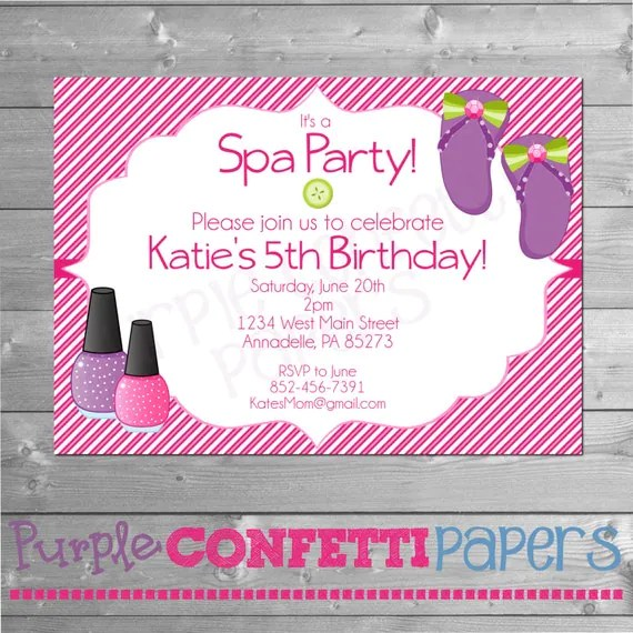 Spa Party Invitation, Spa Birthday Party, Manicure Pedicure, Glam - girl birthday party invitations