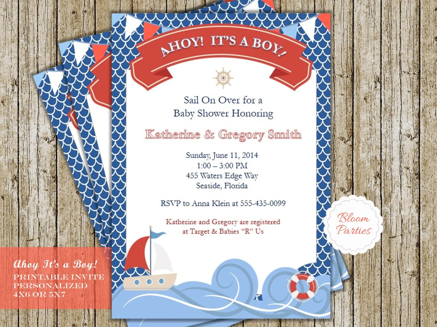 Ahoy Its A Boy Invitation Baby Shower Invitation Printable