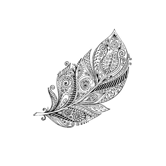 Tattoo Muster Items Similar To Large Boho Feather Temporary Tattoo