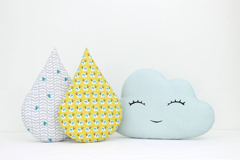 Cloud and rain drop pillows cloud cushion child pillow kids - diaper invitation