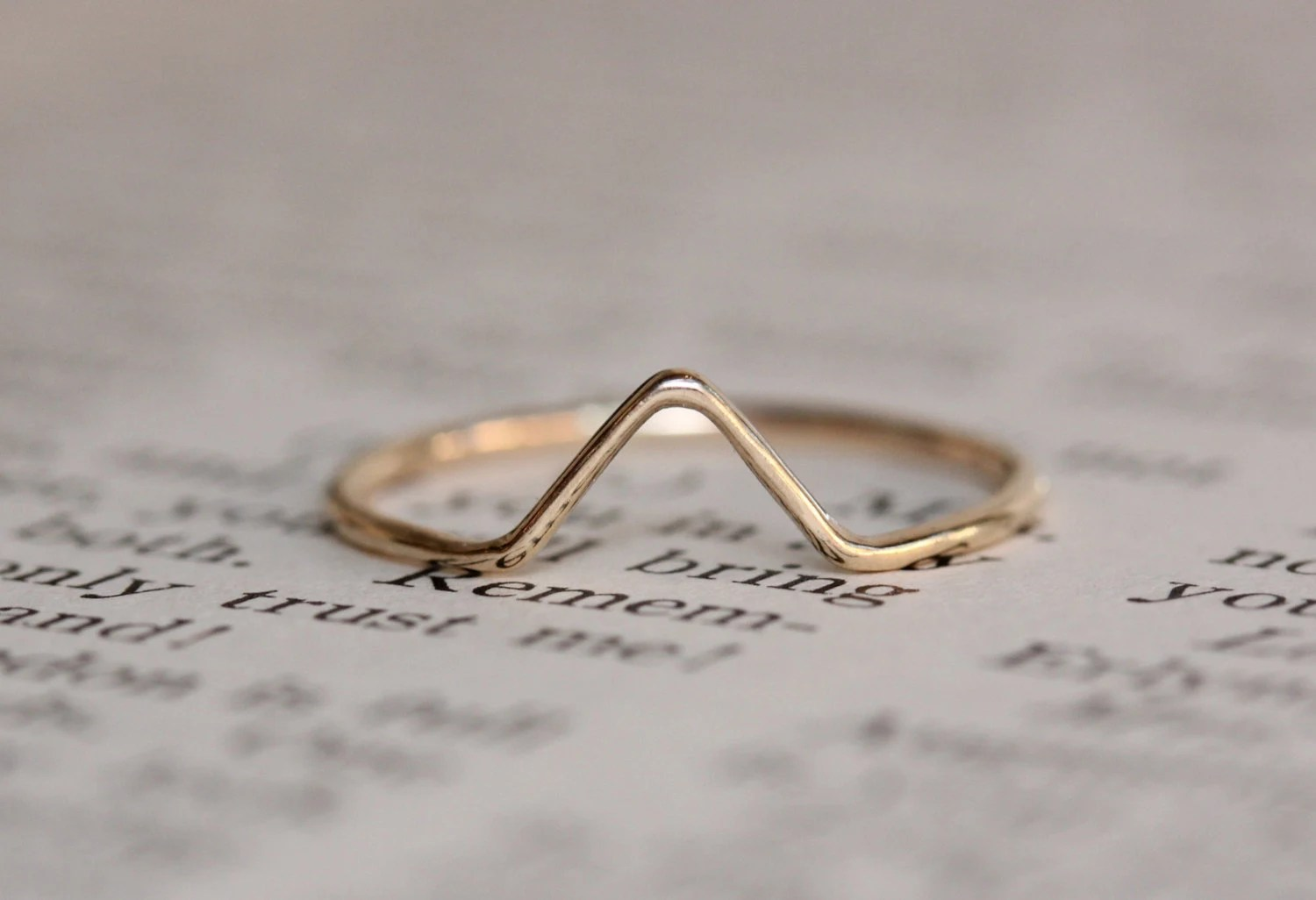 solid 14k gold chevron ring stacking chevron wedding band Solid 14K Gold Chevron Ring Stacking Ring Rose Gold White Gold V Ring Wedding Band Stackable Ring Smooth Band