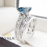 London Blue Topaz Engagement Ring Set Princess Cut Topaz