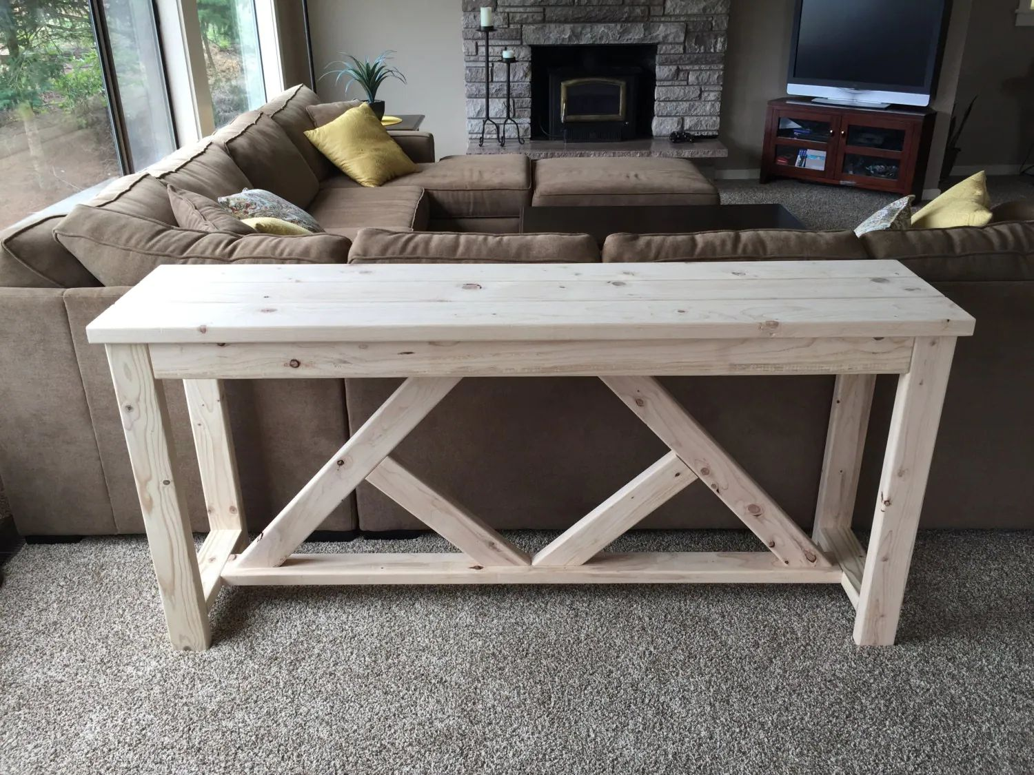 Rustic buffet table with diamond support rustic console table farmhouse table rustic table fixer upper decor shabby chic furniture