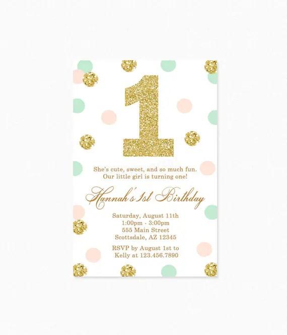 Mint Green, Peach Pink, Gold Polka Dot Birthday Party Invitation