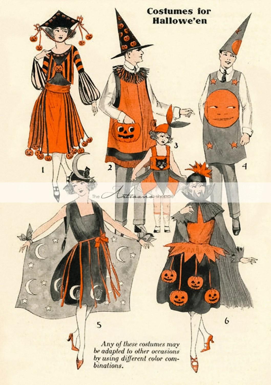 Digital Download Printable Art - Halloween Costumes Antique Vintage