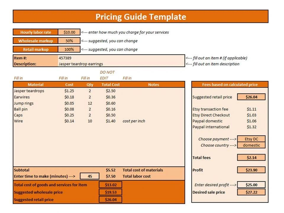 pricing spreadsheet template