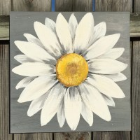 Daisy Painting on a Wood Panel Original Flower Art Gray