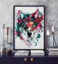 Wolf Wildlife Wild Animals Wall Art Home Decor by rizapekerart