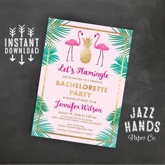Let\u0027s Flamingle Printable Bachelorette Invitation Template