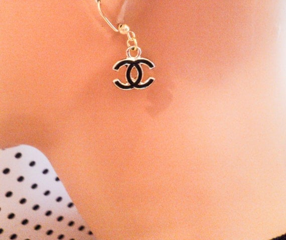 Chanel Inspired Double C Earrings 1 pair Black by