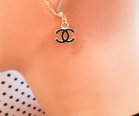 Chanel Inspired Double C Earrings 1 pair Black by ...