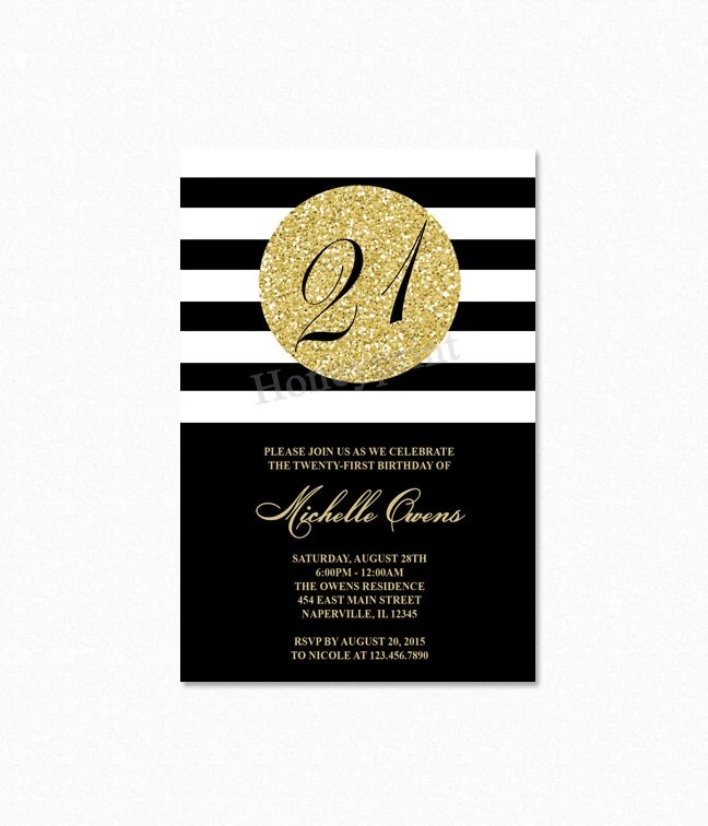 21st Birthday Party Invitation, Black and Gold, Milestone Party