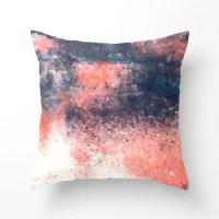Coral Navy Pillow Cover Abstract Art Coral and Navy Decor
