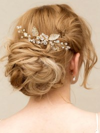 bridal hair comb wedding gold crystal rhinestone hairpiece ...