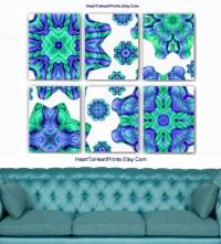 Teal Lavender Living Room Wall Decor Floral Mint Bedroom