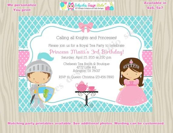 Royal Tea Party Birthday Invitation invite knights and - tea party invitation