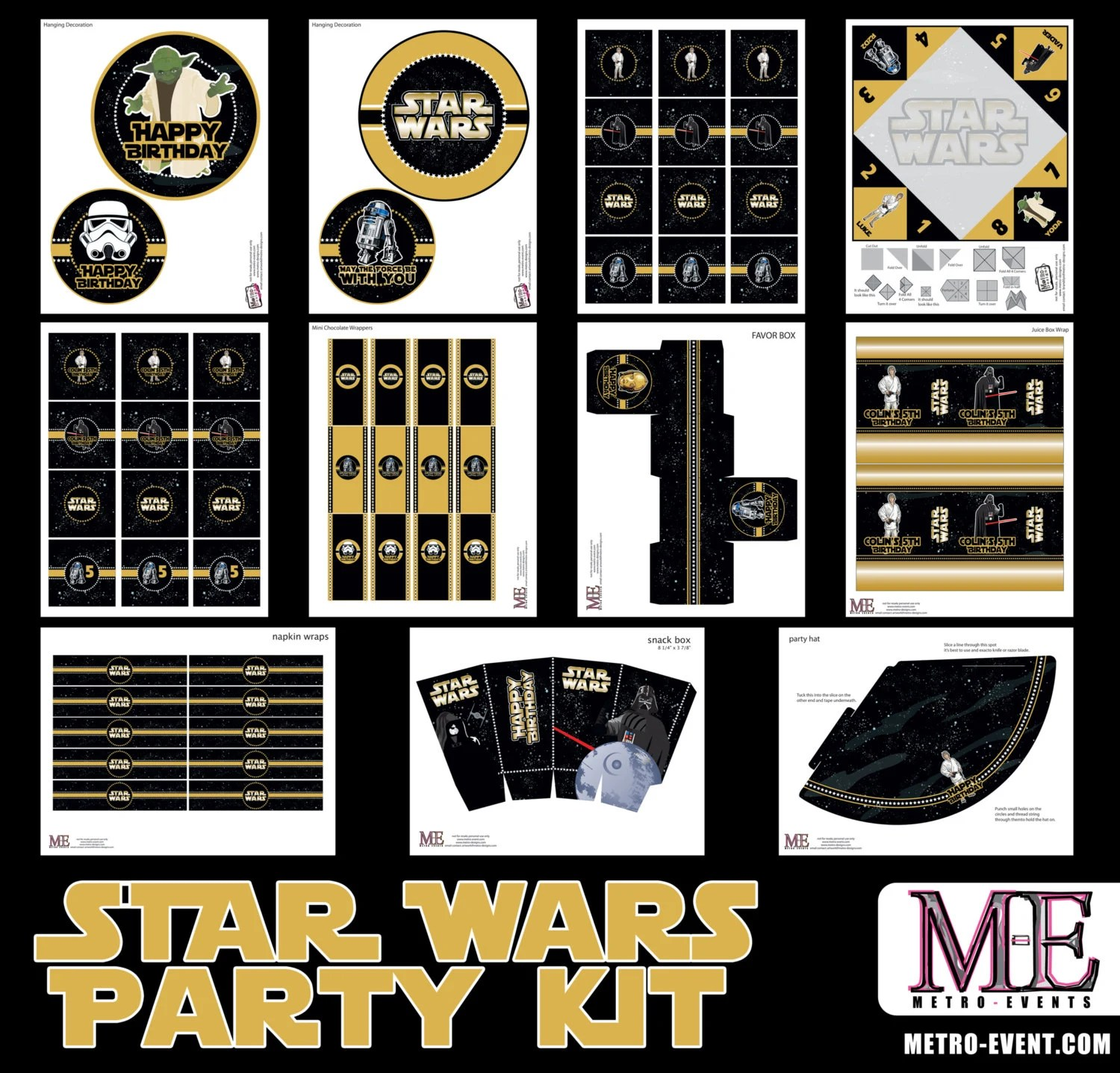 Star Wars Cooking Supplies Star Wars Party Decorations Star Wars Instant Download