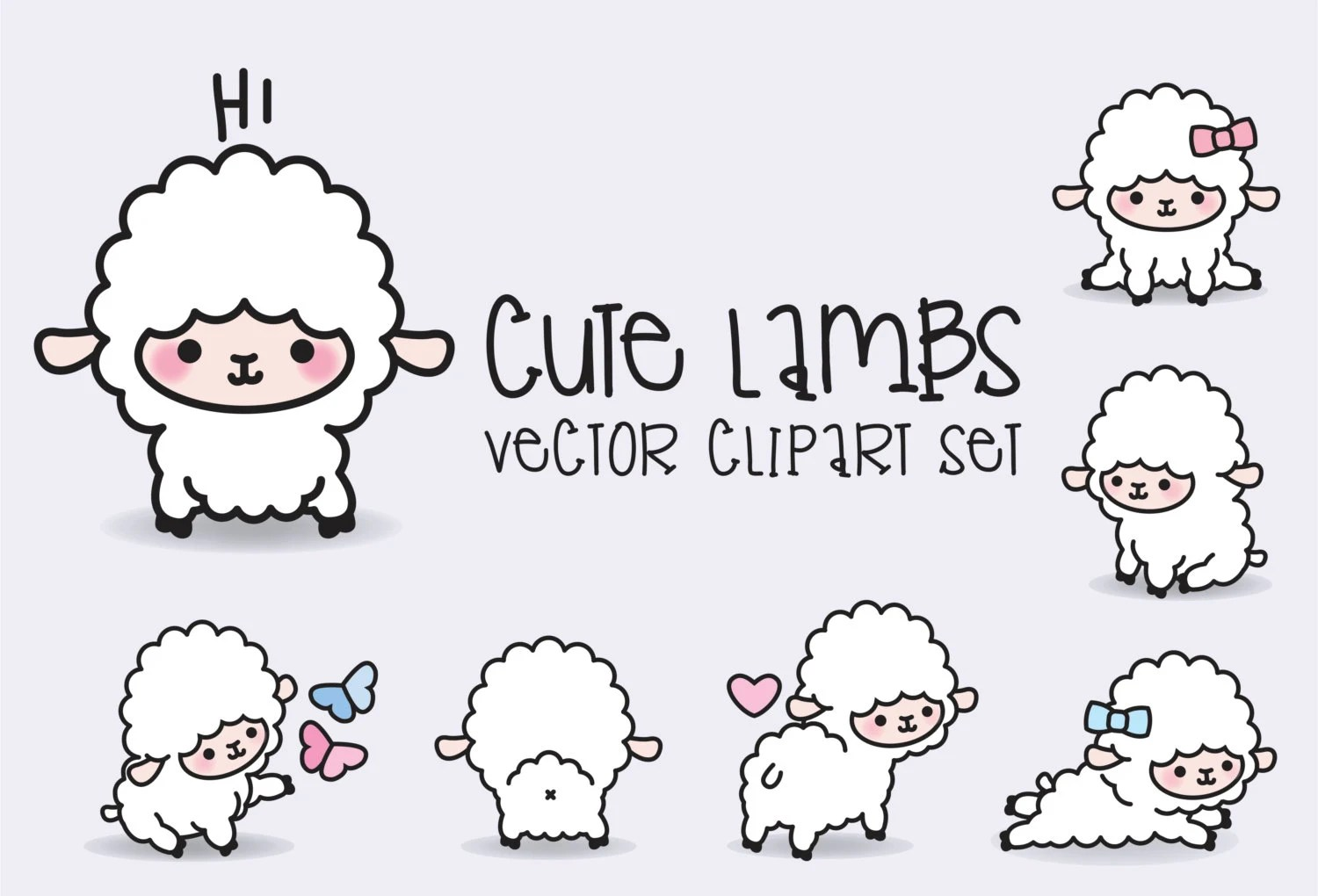 Cute Sheep Drawing Tumblr Premium Vector Clipart Kawaii Lambs Cute Lamb Clipart Set