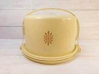 Vintage Yellow Tupperware Cake Holder Pie Carrier Maxi Taker