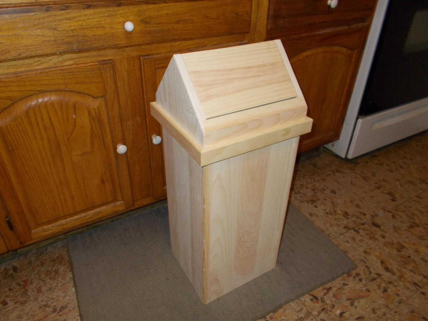 Wooden Kitchen Trash Containers Handcrafted Wood 13 Gallon Kitchen Trash Can Unfinished Pine