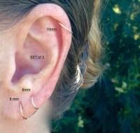 Silver Cartilage Hoop Earrings Tiny Sterling Silver Earrings