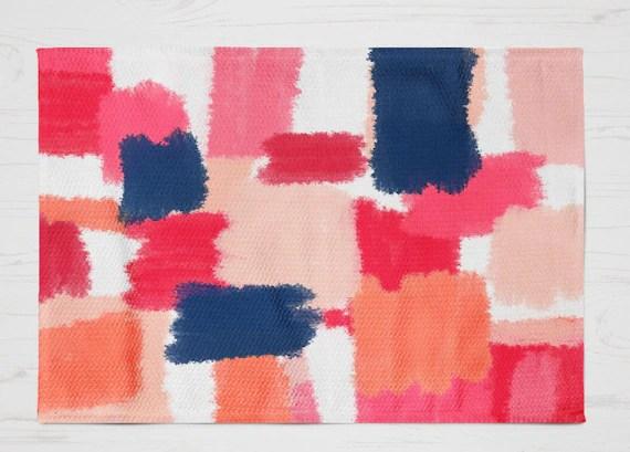 Abstract Rug Mat Pink Navy Mat Pink Navy Decor 2 Sizes