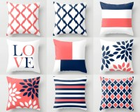 Throw Pillow Covers Navy Coral White Navy Blue by ...