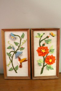 SALE 20% OFF Vintage Bird & Floral Felt Art Felt Wall Art
