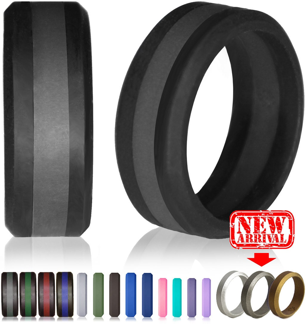 black wedding ring military wedding rings Silicone Wedding Ring by Knot Theory Safe Lightweight Wedding Band Black with Slate Grey Stripe