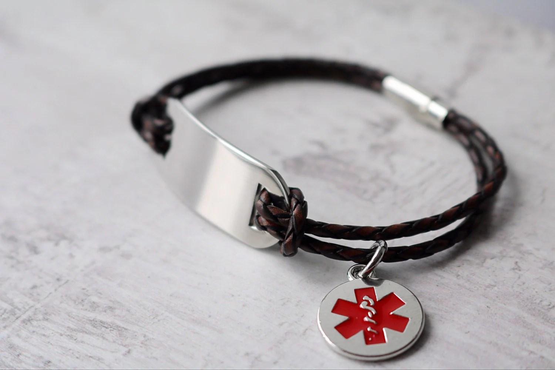 Men39s Medical Id Bracelet Personalized Medical Alert