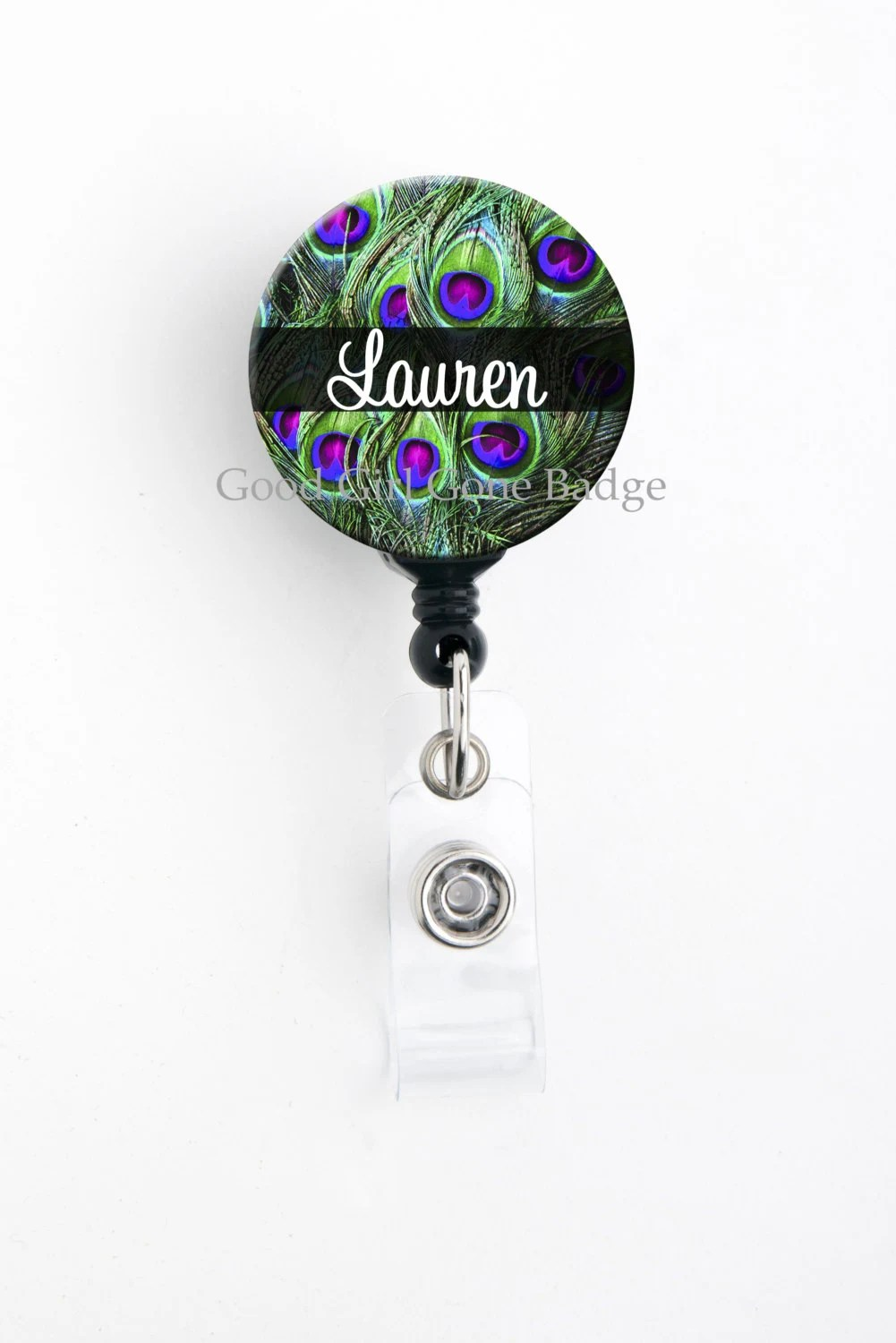 Retractable Id Badge Holder Personalized Name Peacock