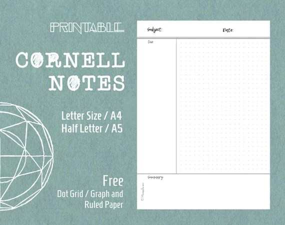 Printable Cornell Notes Template Planner Inserts Letter Size - cornell note template